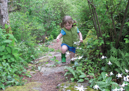 Girl on woodland path