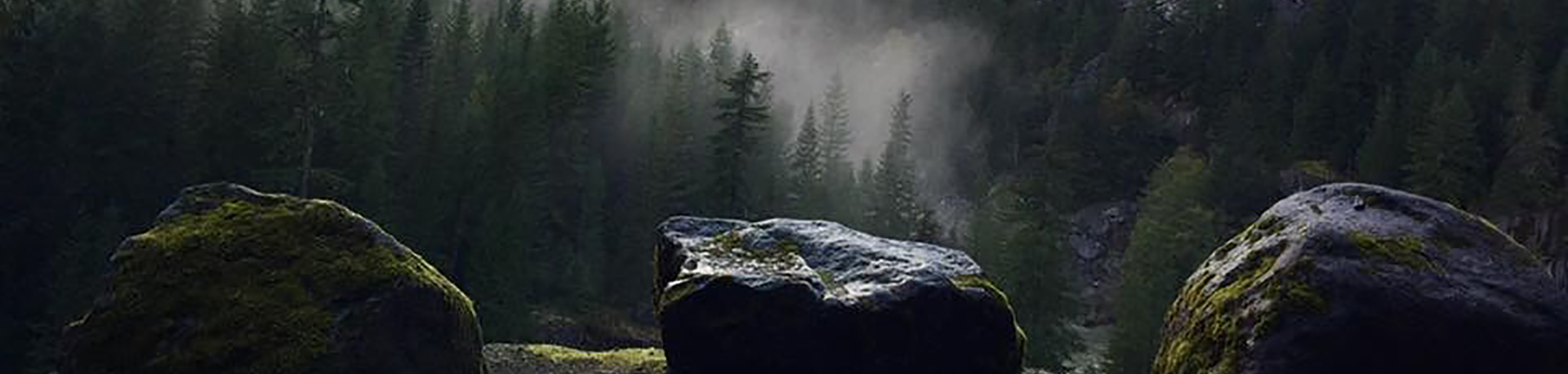three boulders symmetrically spaced looking out over a foggy mountains covered in trees