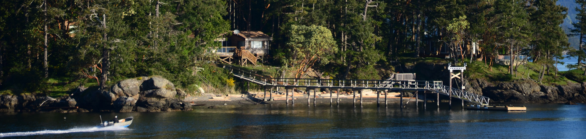 A house tucked in the trees on an island with a private boat dock