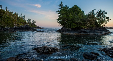 waves lapping at rocks that look out to a small tree covered island with ocean and blue sky in the background