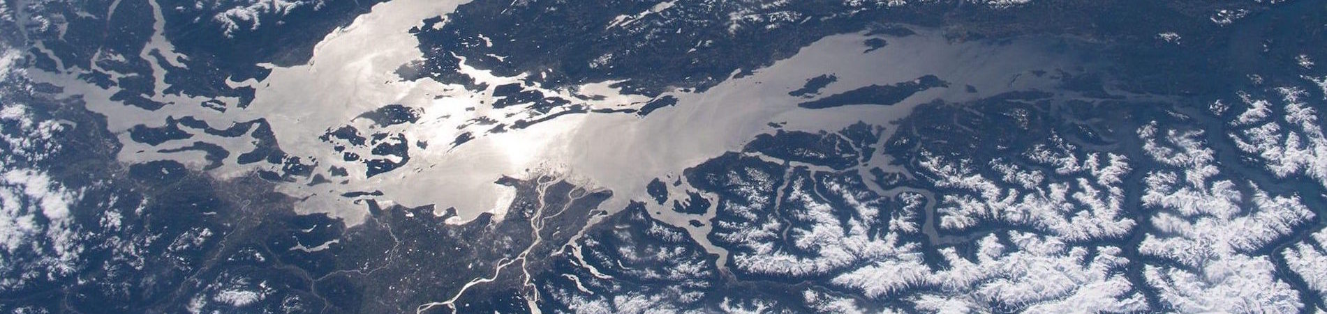 Aerial view of the Salish sea in google earth image