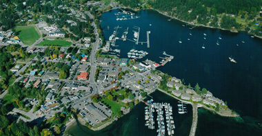 aerial photograph of a shoreline town on the west coast