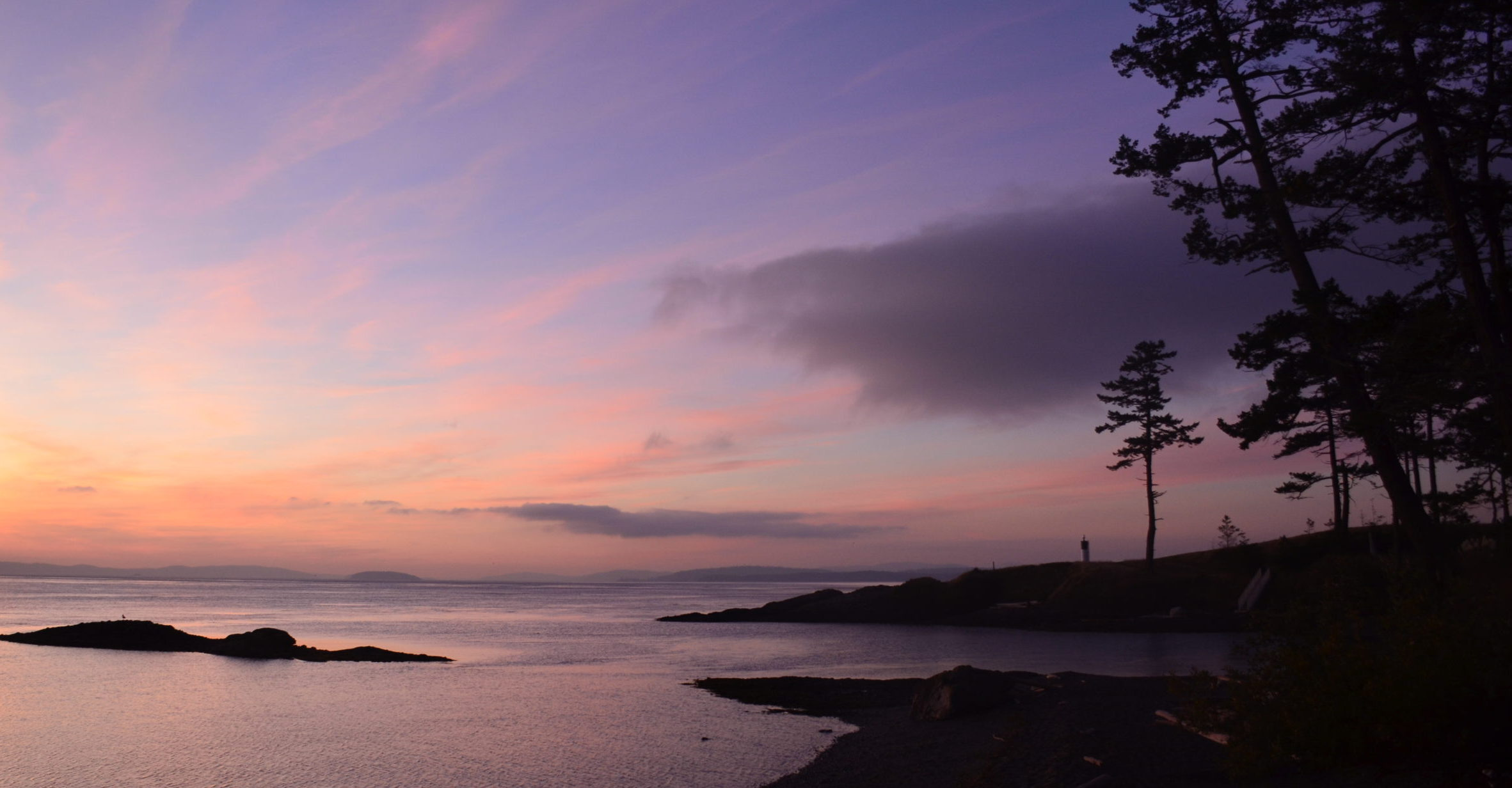 purple and pink sunset over an ocean bay with the silhouette of a shore and trees in the foreground
