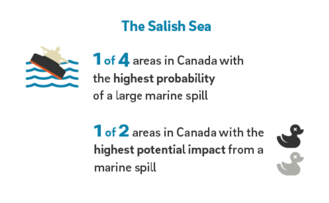 An infographic about oil spills in the salish sea