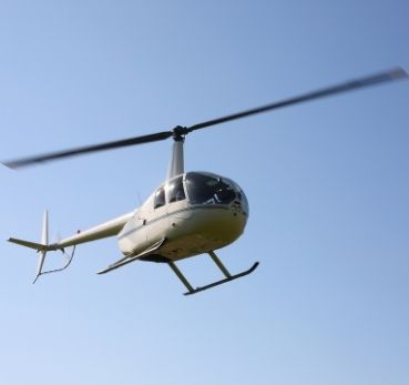 A flying helicopter